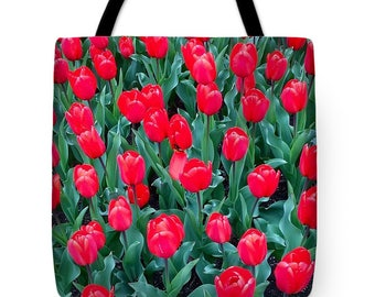 Red Tulips Tote Bag, Grocery Tote Bag, Flower Tote Bag, Spring / Summer Tote Bag, Beach Tote Bag, Patrushka Flower Totes, FREE SHIPPING USA