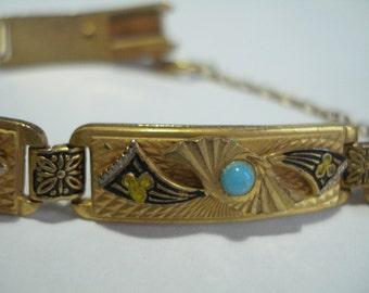 Vintage Bracelet Turquoise Glass and Damascene 1950's 1960's