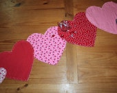 SALE Valentine's Day Table Runner Table Topper Rag Quilt Style Red White Pink - LAST ONE!