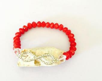 Infinity Bracelet, Red crystals, stretchy, beaded, layering, handmade, item no. De 433