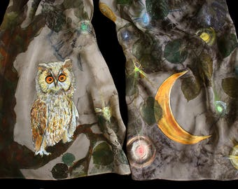 Funny gift, silk scarf with painted owl, eco printed leaves and red moon, khaki silk scarf, night landscape, beautiful silk painting