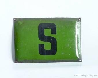 """Vintage 12"""" Green Enamel Sign / Industrial Metal Sign / Letter S"""