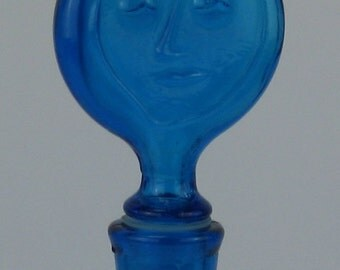 Vintage Figural Blue Glass Bottle with Stopper Top in the Style of Eric Hoglund