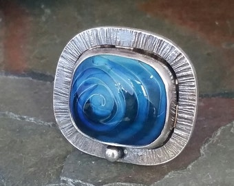 Square blue swirl lampwork and silver ring, Size 7