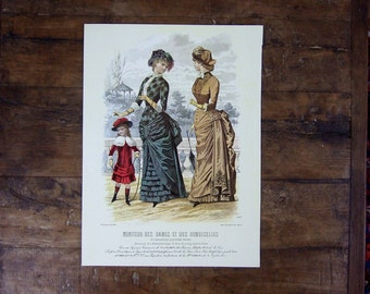 1960s French Fashion print Antique dresses reproduction