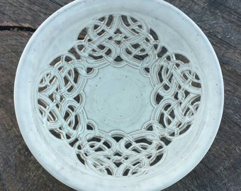 NEW, Large White Carved Fruit Bowl, Handmade Centerpiece