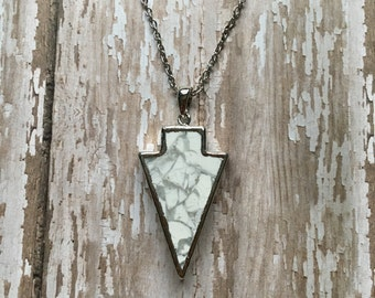 White howlite arrow necklace