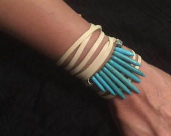 Turquoise Leather Wrap Bracelet or Necklace/Choker