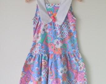 1980s FLOWER GARDEN Girls Dress....size 10 girls..pink dress. flower dress. floral print. spring. summer. children. summer dress. day dress