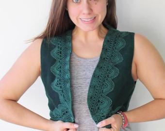 1980s GENUINE LEATHER Vest...top. 80s clothing. summer. festival. hipster. urban. hippie. boho. green leather. woodstock. hunter green
