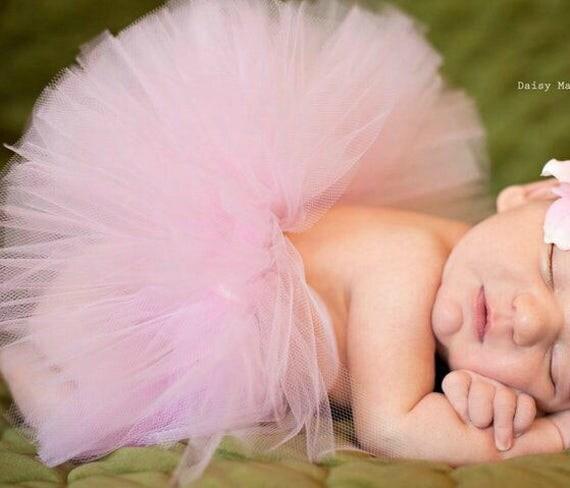 Newborn Tutu Pink with Flower Headband, Pink Newborn Tutu, Newborn Photo Prop, Pink Tutu Photo Prop, Pink Infant Tutu, Pink Tutu Set