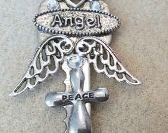 Key Up Cycled Angel Peace Pendant