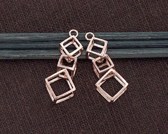 2 of 925 Sterling Silver Rose Gold Vermeil Style 2 Cube Charms 10x25mm.  :pg0328