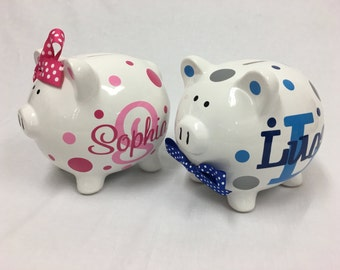 piggy bank ceramic piggy bank monogram name polka dots flowers