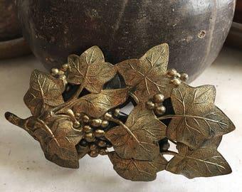 Large Vintage Brass Grapes Brooch /  Grapes Vines Leaves Vitnage Pin
