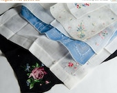 35% OFF B-DAY Sale Lot 6 Hankies Vintage Madeira Hand Embroidered Floral Linen - B5