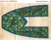 20% OFF Christmas Holly & Mistletoe Slipper Embroidery Pattern, Antique Peterson's Magazine 1879 9x10 Color Engraving, FREE SHIPPING
