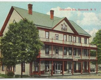 Hancock N.Y. Delaware Inn Postcard, Antique Color Ephemera c1910s, Upstate New York Hotel, FREE SHIPPING