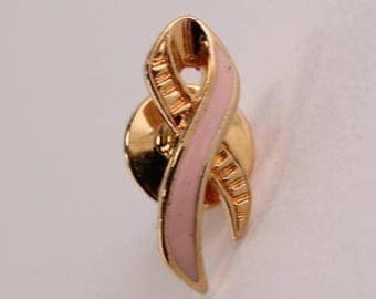 Vintage 1993 Signed Avon Better Breast Care Cancer Awareness Pastel Pink Enamel Ribbon Brooch Pin