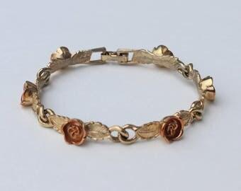 Vintage 1975 Signed Avon Burnished Roses Mixed Metal Gold Copper Tone Rose Flower Link Bracelet with METAL WEAR