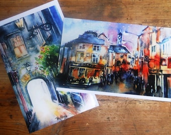 Two Kilkenny -Greeting Cards,  Watercolours  7 x 4.5.ins -  blank for your message,Kilkenny cityscape