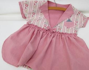 Vintage Clothespin Bag, Laundry Bag, Diaper Holder, Pajama Bag, Antique Pink Dress