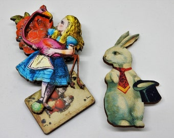 Alice in Wonderland Brooch, White Rabbit  Brooch, Alice and White Rabbit Pin Brooch, Wooden Brooch Pin