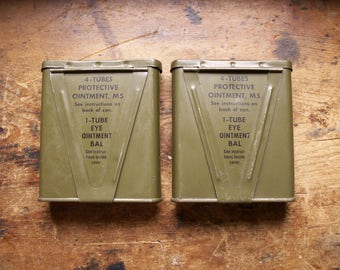 Vintage Army Green First Aid Medicine Tins - Protective Ointment
