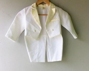 Toddler White TUXEDO Tails Jacket //3T