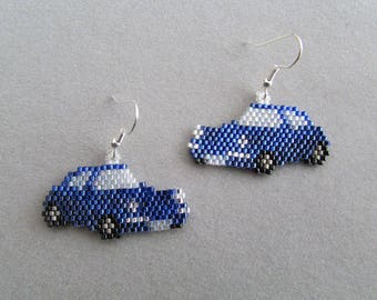 Beaded Blue Sports Car Earrings