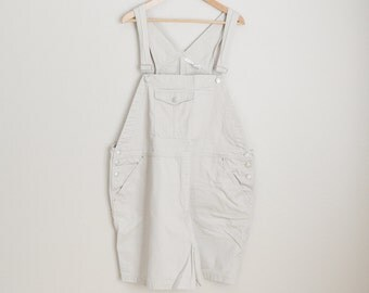 Vintage 90s Tan Cherokee Shortall Overall Shorts Dungaree Shorts // womens xxxl - size 24 womens
