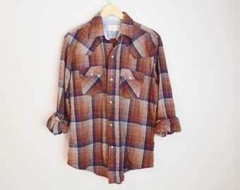 Vintage 80s Brown Tan Blue  Plaid Wool Shirt Western StyleButton Down // mens large = slightly distressed