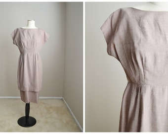Vintage 50s Brown Tan Peplum Tiered Day Lunch Wiggle Dress // womens medium large // 40-30-41