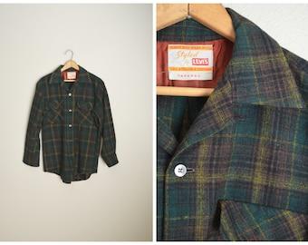 vintage 50s big e levi's wool plaid board shirt -- mens small-med