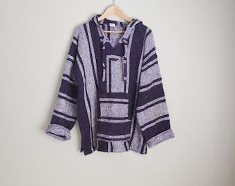 vintage purple white baja hoodie surfer pullover --  mens xlarge