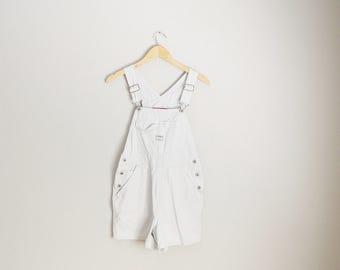 vintage old navy khaki tan shortall overalls shorts -- womens small