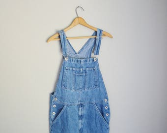 vintage 90s denim jean oversized overalls -- womens small
