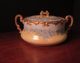 Cookie bowl - antique, yellow and blue