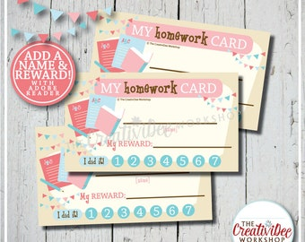 Homework Punch Card | Punch Card | Editable Name and Reward | Pink | Printable Punch Card | Instant Download | Schoolwork Card