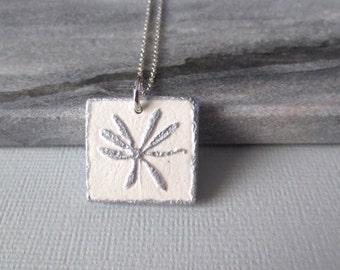 Botanical - Floral Print Pendant Necklace; Silver and Handmade Cream Clay Square Pendant with Floral Motif (Blumen Anhänger) by InfinEight