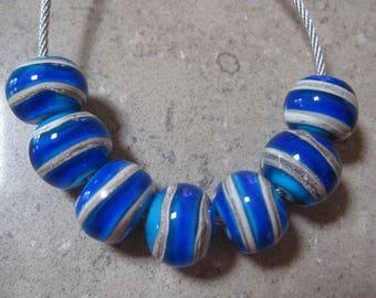 Lampwork Glass Beads. Cobalt Blue Beads. Silver Ivory Spirals. Handmade Glass Beads. Australian Artisan Glass Beads. Kiln Fired Beads.