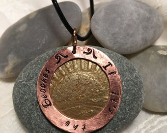 If It's the Beaches etched brass & copper stamped pendant