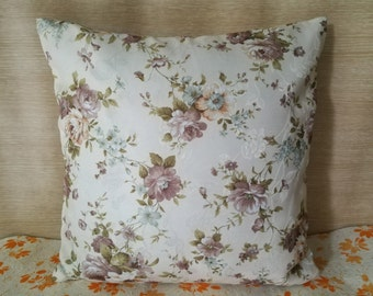 """Flower Decorative pillow cover, ivory latte beige pillowcase, floral cushion cover, throw pillow inch 15""""x15"""""""