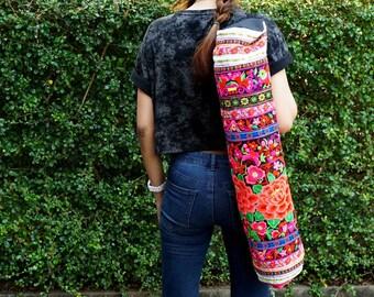 Yoga Mat Carrier, Ethnic Yoga Mat Bags, Boho Yoga Carrier, Thai Embroidered Yoga Sport Bag, Pilates Mat Bag from Thailand