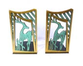 Vintage STAG BOOKENDS From ISRAEL