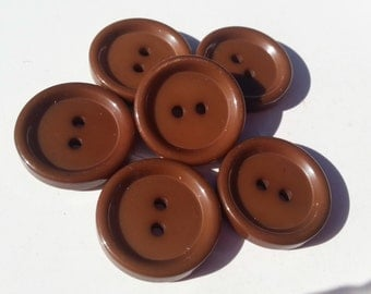 "6 Chocolate Brown 2 Hole Round Buttons Size 3/4""."