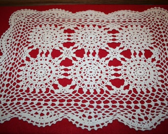 Vintage Hand Crocheted Doily- Rectangle