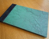 Emerald/Violet Crumpled French Silk with Yuzen Waves Guest Book