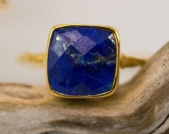 SALE - Lapis lazuli Ring Cushion Cut Gold - September Birthstone Ring - Gemstone Ring - Stacking Ring - Gold Ring