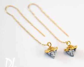 Dendrite Opal Earrings - Gold Ear Thread Earrings - Spike Earrings - Ear Threader Earrings - Minimal Jewelry - Long Gold Dangle Earring